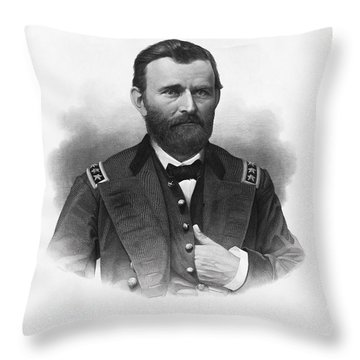 General Grant Engraved Portrait Throw Pillow