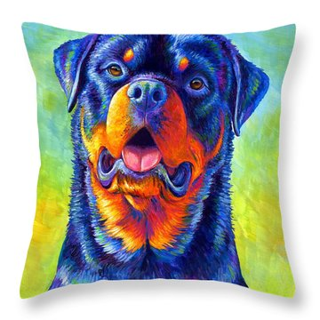 Gentle Guardian Colorful Rottweiler Dog Throw Pillow