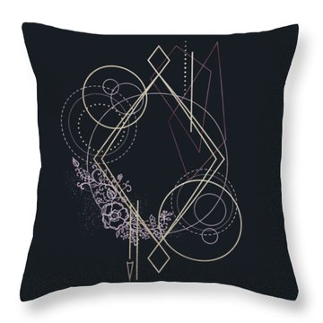 Throw Pillow featuring the digital art Geometric Abstraction Decorated With Flowers by Bee-Bee Deigner