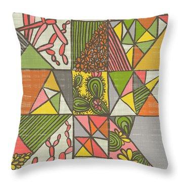 Geometric Flowering Cacti Throw Pillow