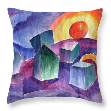 Throw Pillow featuring the painting Geometric Landscape by Dobrotsvet Art