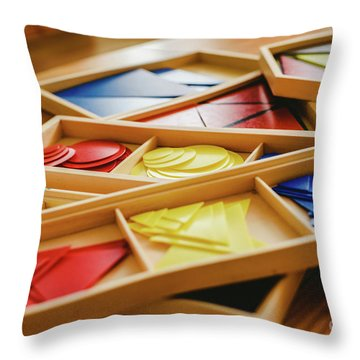 Geometric Material In Montessori Classroom For The Learning Of Children In Mathematics Area. Throw Pillow