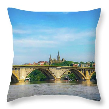 Throw Pillow featuring the photograph Georgetown From The Potomac by Lora J Wilson