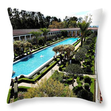 Getty Pano Courtyard Museum Villa Malibu Santa Monica  Throw Pillow
