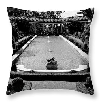 Getty Villa Massive Pool Black White Landscape  Throw Pillow