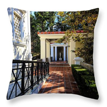 Getty Villa Pathway Exterior Landscape  Throw Pillow