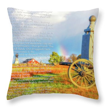 Gettysburg Address And Battlefield Rainbow Throw Pillow