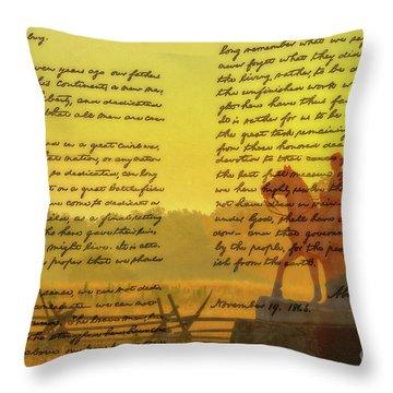 Gettysburg Address Eighth Pennsylvania Cavalry Throw Pillow