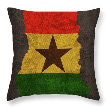 Ghana Country Flag Map Throw Pillow