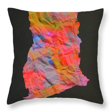 Ghana Tie Dye Country Map Throw Pillow