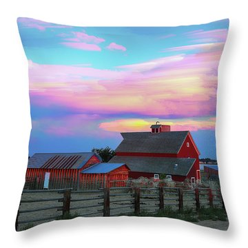 Throw Pillow featuring the photograph Ghost Horses Pastel Sky Timed Stack by James BO Insogna