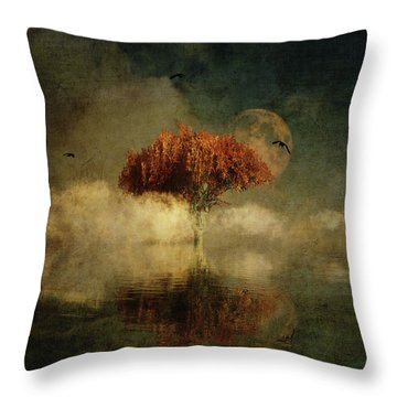 Throw Pillow featuring the digital art Giant Oak In A Dream by Jan Keteleer