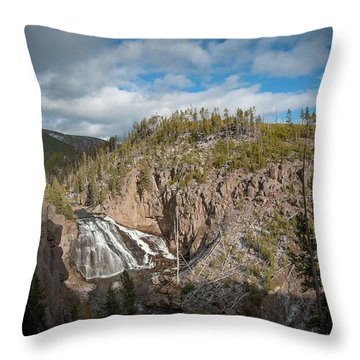 Throw Pillow featuring the photograph Gibbon Falls In Yellowstone by Mark Duehmig