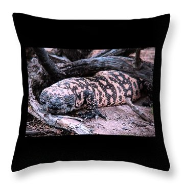 Gila Monster Under Creosote Bush Throw Pillow