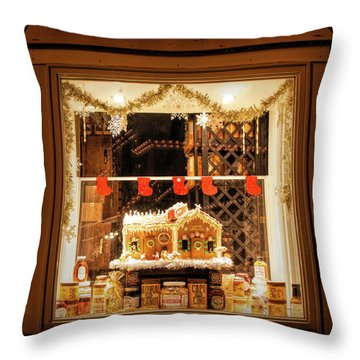 Throw Pillow featuring the photograph Gingerbread Holiday Window by Kristia Adams