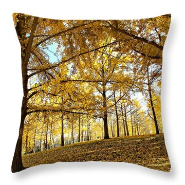 Throw Pillow featuring the photograph Ginkgo Grove by Candice Trimble