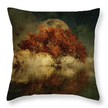 Throw Pillow featuring the digital art Giant Oak And Full Moon by Jan Keteleer