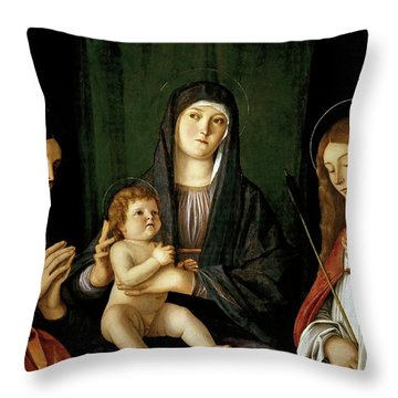 Giovanni Bellini -and Workshop- 'the Virgin And Child Between Two Saints', Ca. 1490, Italian School. Throw Pillow