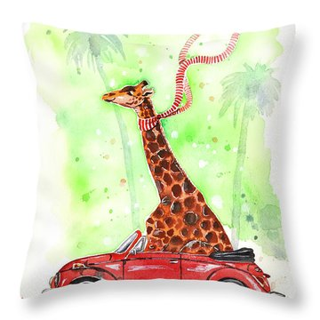 Giraffe In A Beetle Throw Pillow