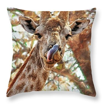 Giraffe Says Yum Throw Pillow