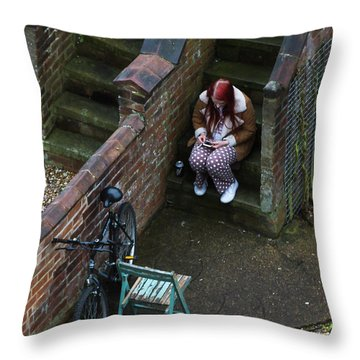 Girl On A Phone Throw Pillow