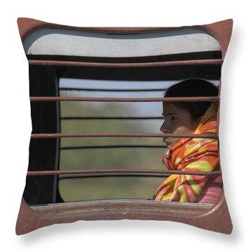 Girl On Train Throw Pillow