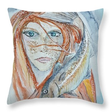 Girl With Cod Throw Pillow