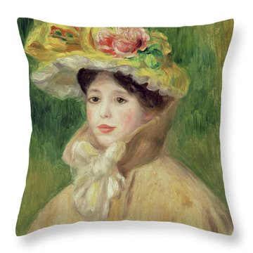 Girl With Yellow Cape, 1901 Throw Pillow