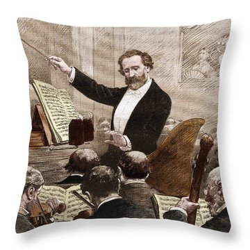 Giuseppe Verdi Leading The Opera Orchestra To The First Representation Of Aida In Paris In 1880 Throw Pillow