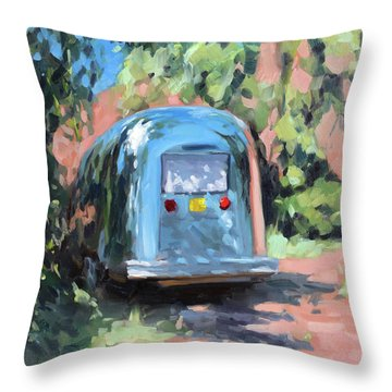 Glamping In Dappled Light Throw Pillow
