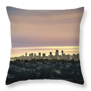 Gloden Sky On Vancouver Throw Pillow