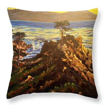 Throw Pillow featuring the painting Glorious Sunset by Ray Khalife