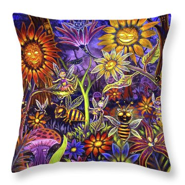 Glowing Fairy Forest Throw Pillow