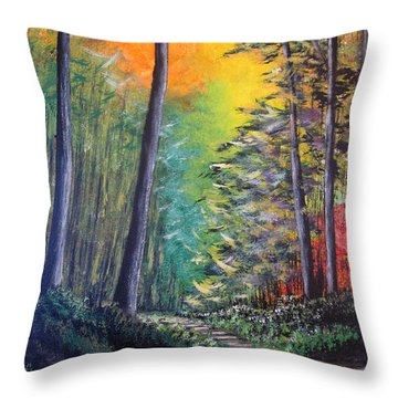 Glowing Forrest Throw Pillow