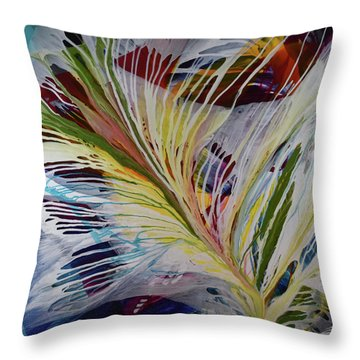Throw Pillow featuring the painting God Gives Us Roots And Wings by Kate Word