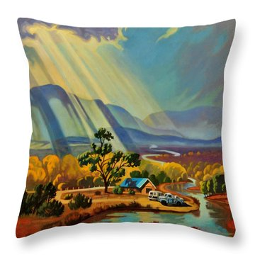God Rays On A Blue Roof Throw Pillow