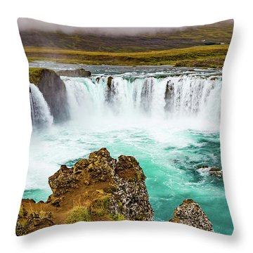 Godafoss Waterfall, Iceland Throw Pillow