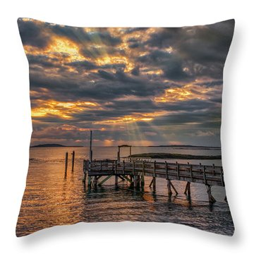 Throw Pillow featuring the photograph Godrays Over The Pier by Guy Whiteley