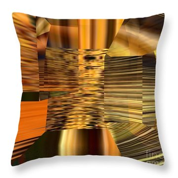 Throw Pillow featuring the digital art Gold  by A z Mami