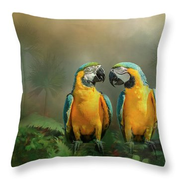 Gold And Blue Macaw Pair Throw Pillow