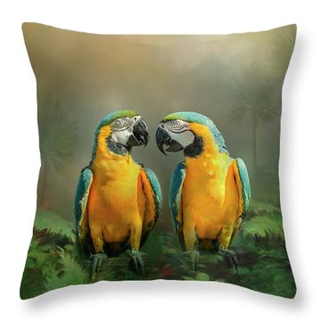 Throw Pillow featuring the photograph Gold And Blue Macaw Pair by Patti Deters