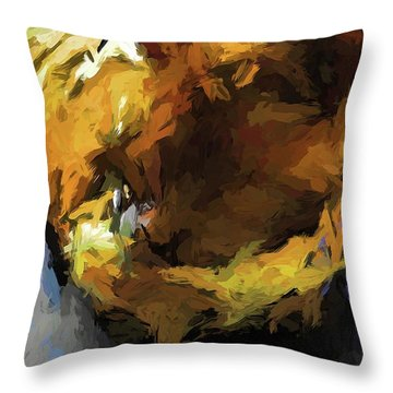 Gold Cat And The Shadow Throw Pillow