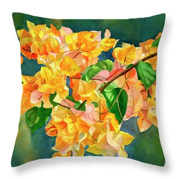 Gold Colored Bougainvilles With Background Throw Pillow