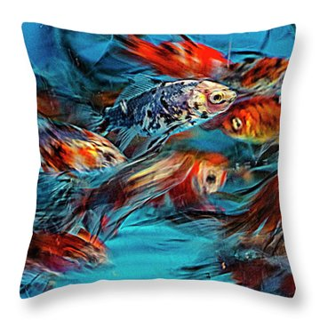 Gold Fish Abstract Throw Pillow