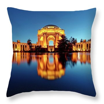 Throw Pillow featuring the photograph Gold Surrounded By Deep Blue by Quality HDR Photography