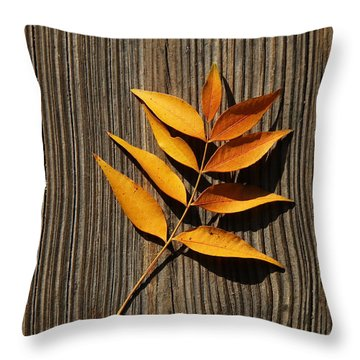 Throw Pillow featuring the photograph Golden Autumn Leaves On Wood by Debi Dalio