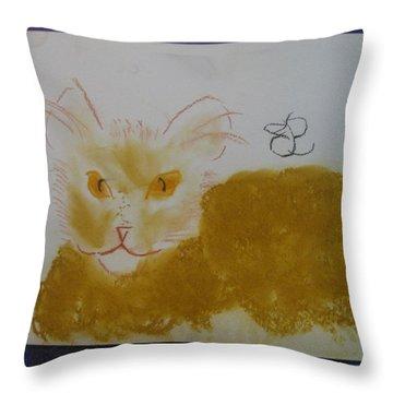 Golden Cat Throw Pillow