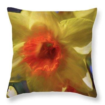 Throw Pillow featuring the mixed media Golden Daffodil Brilliance by Lynda Lehmann