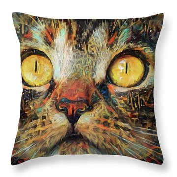 Golden Eyes Dreaming Throw Pillow
