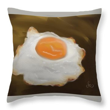 Throw Pillow featuring the pastel Golden Fried Egg by Fe Jones